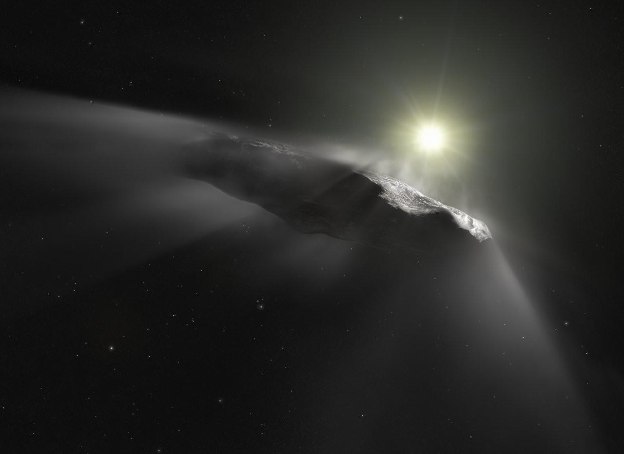 Concepção artística do Oumuamua (Foto: ESA/Hubble, NASA, ESO, M. Kornmesser)