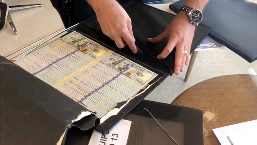 Dólares e euros são encontrados escondidos em capas de livros — Foto: Divulgação