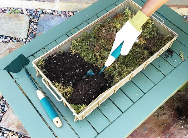 Caixa de flores: Adicione o musgo e a terra (Foto: Cococozy/Reprodução)