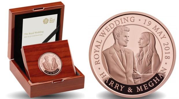 Moeda de ouro em celebração ao casamento de Harry e Meghan Markle (Foto: Divulgação)