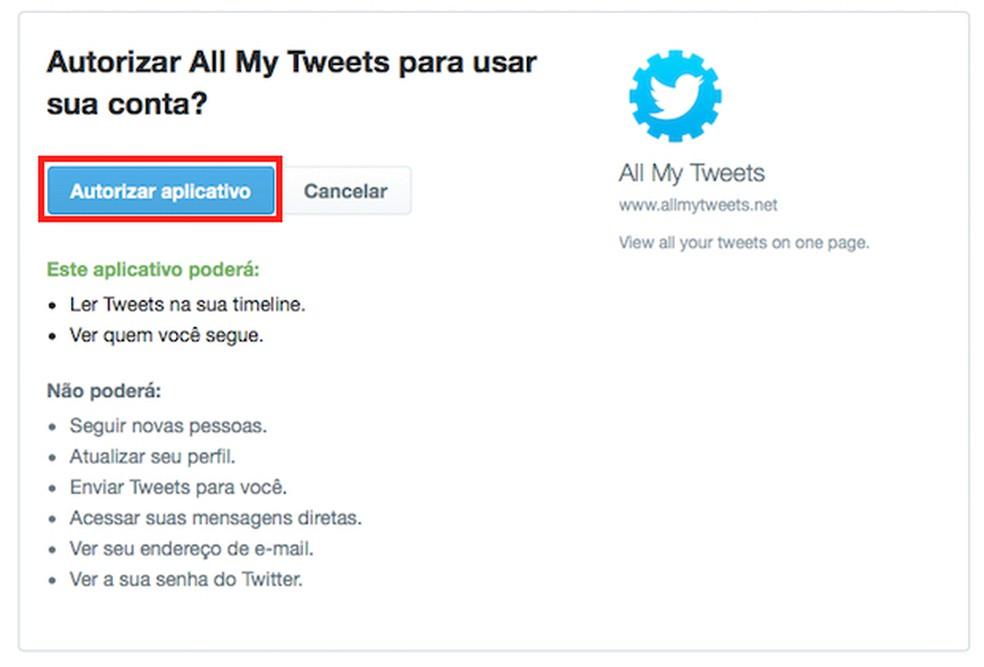 Tela 2 de passo a passo para apagar publicações no Twitter — Foto: Reprodução