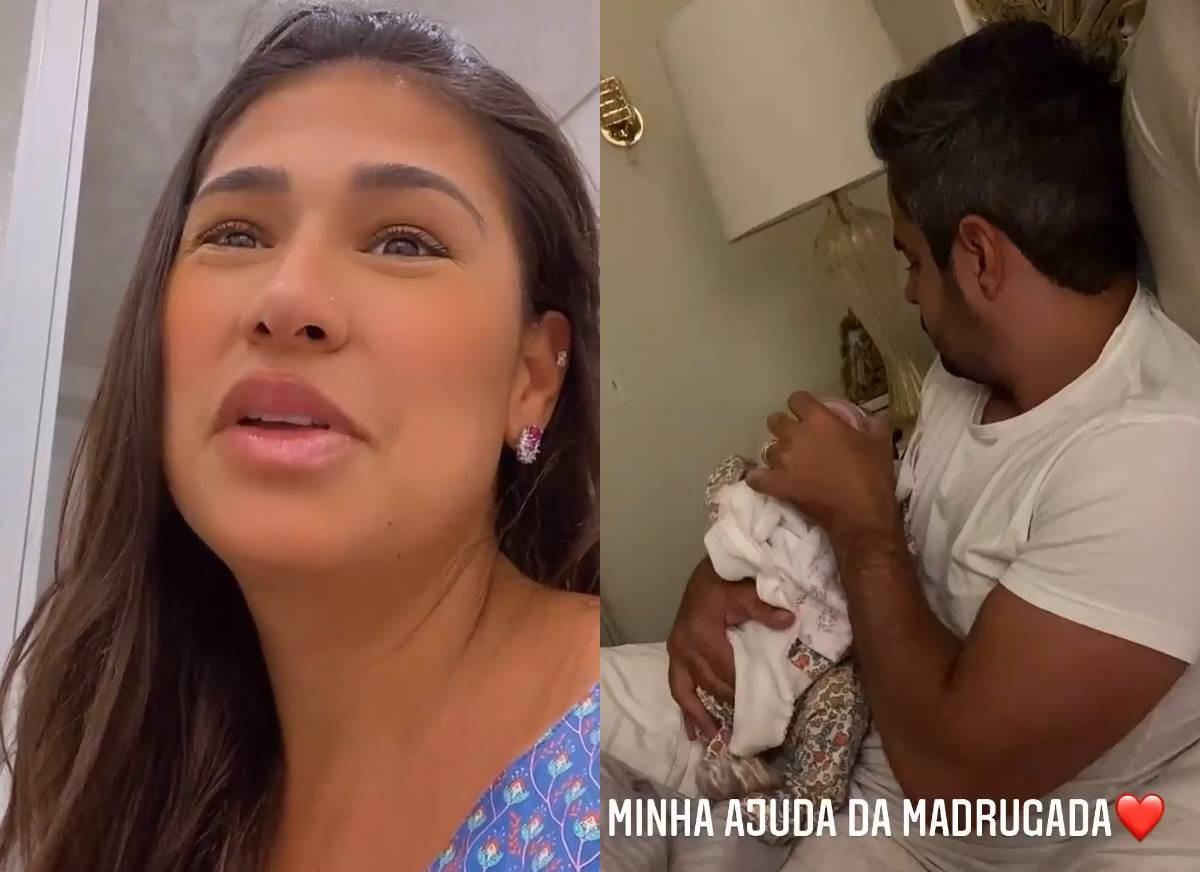 Simone mostra o marido dando de mamar para a filha (Foto: Reprodução/Instagram)