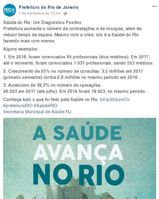 Publicação com a propaganda da Prefeitura