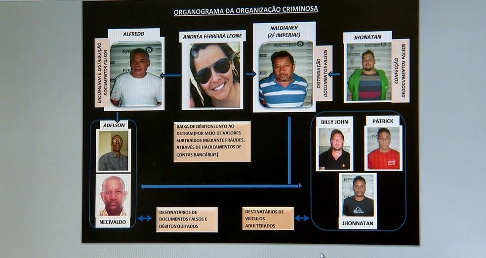 Organograma feito pela polícia sobre organização criminosa no Espírito Santo (Foto: Reprodução/ TV Gazeta)