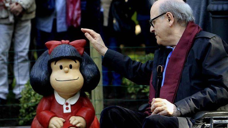 Mafalda e Quino, seu criador (Foto: Mafalda Oficial/Facebook)