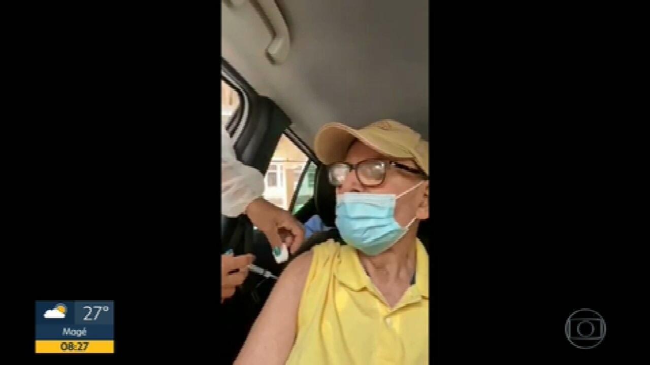 Idosos são flagrados tomando 'vacinas de vento' em Petrópolis e Niterói
