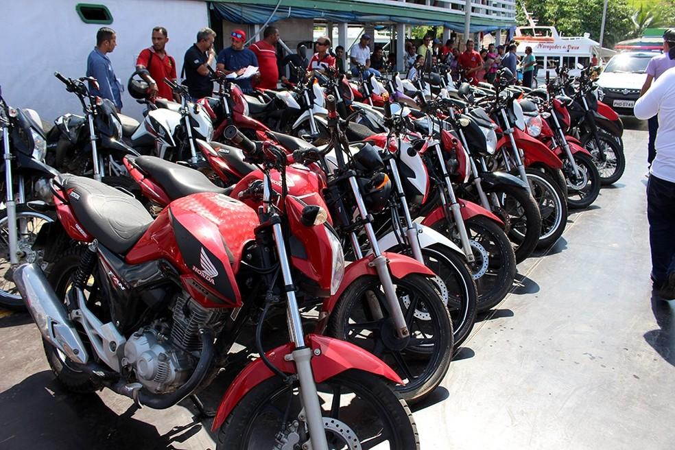 Maioria de veículos recuperados é motocicleta (Foto: Lana Honorato/Polícia Civil)