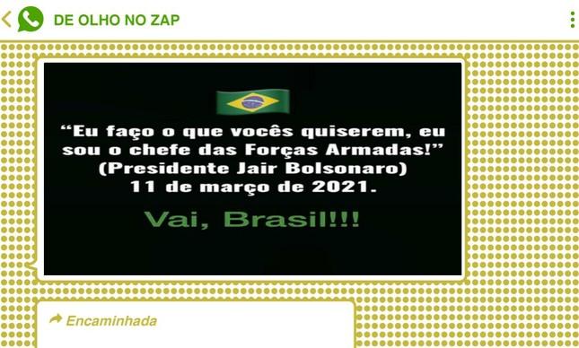 Frase de Bolsonaro durante live repercutiram em vários chats a favor do presidente