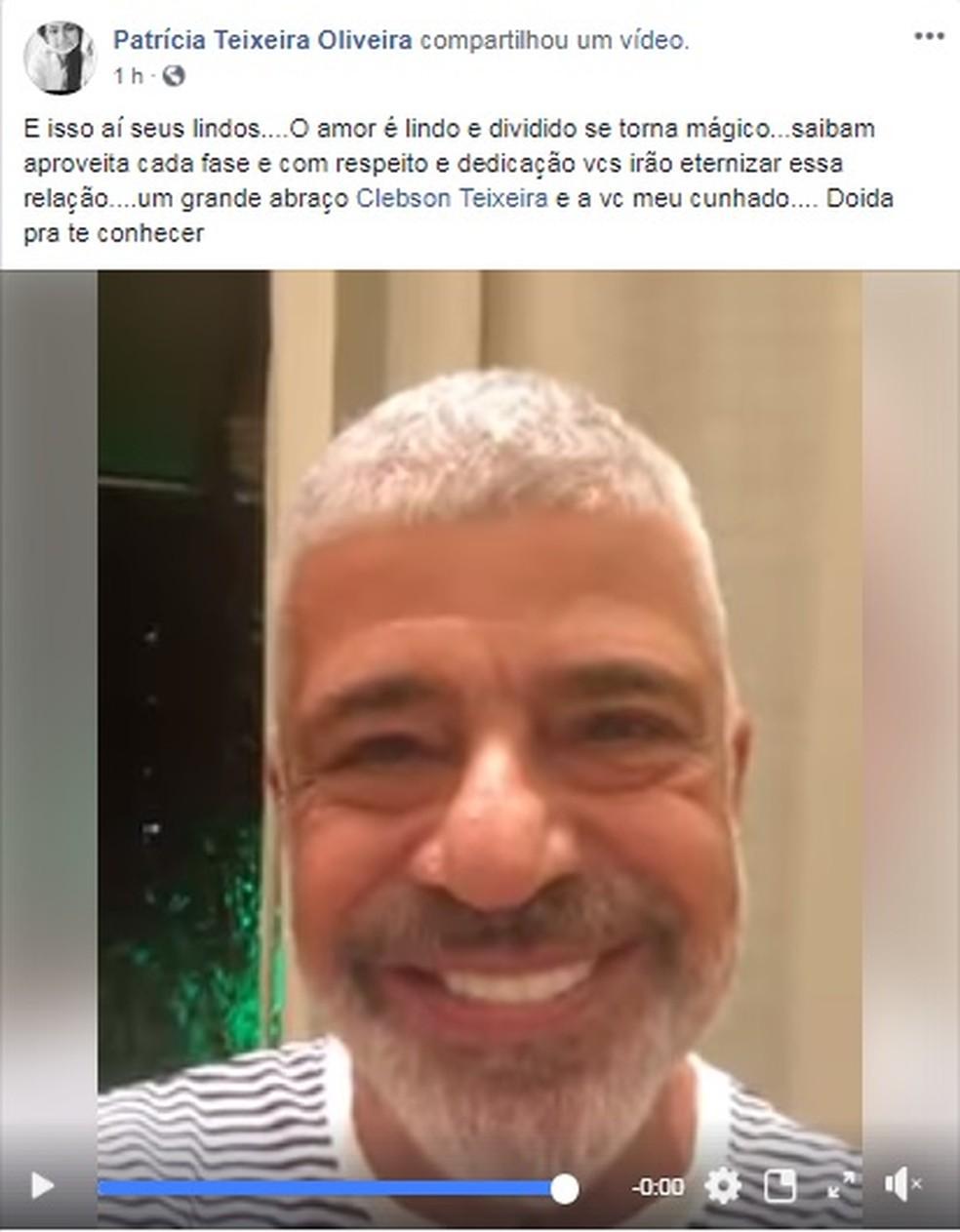 Patrícia Teixeira, irmã de Clebson Teixeira, resposta vídeo de Lulu Santos (Foto: Reprodução/Facebook)