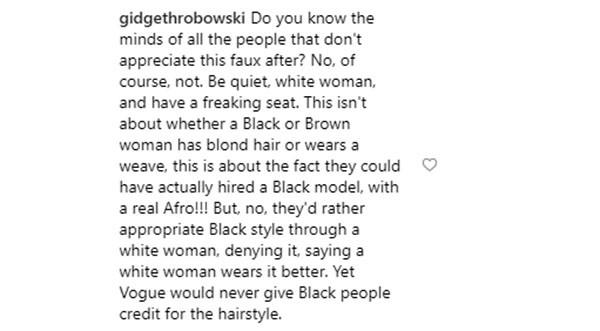 Comentário sobre Kendall Jenner (Foto: Instagram)