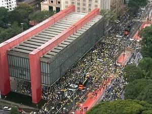 Aglomeração começa a se formar sob o vão e em frente ao Masp, na Avenida Paulista, para protesto contra a corrupção (Foto: Reprodução/TV Globo)
