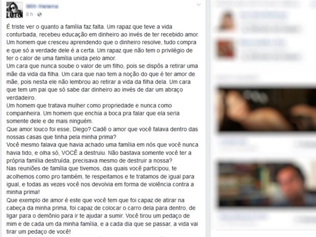 Prima de fisioterapeuta morta em Goiás pede punição de autor do crime (Foto: Reprodução/Facebook)