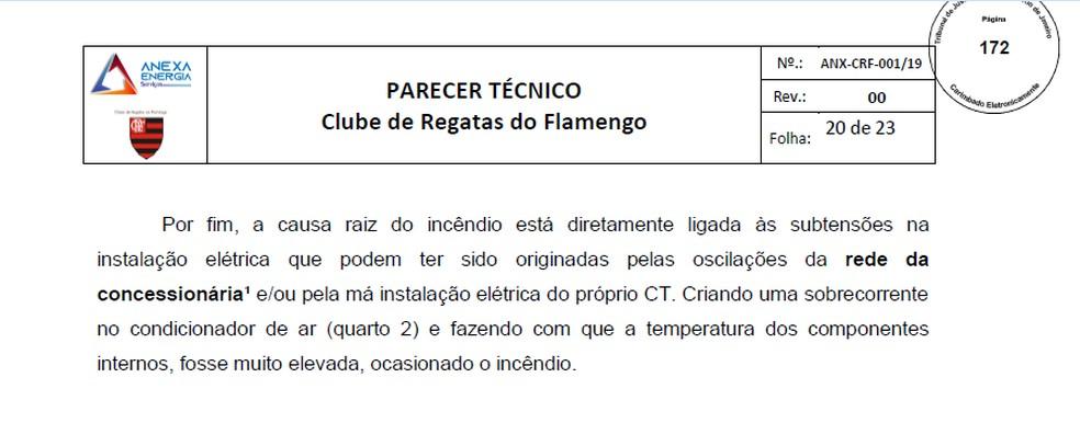 """Trecho do relatório da """"Anexa"""" entregue o Flamengo — Foto: Reprodução"""