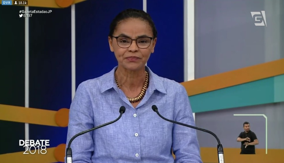 Marina Silva (Rede) no debate da TV Gazeta (Foto: Reprodução/TV Gazeta)