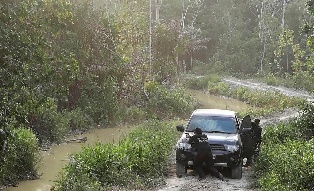 Agentes da Polícia Federal revidaram a tiros em operação do Ibama na terra indígena Ituna/Itatá (Pará), em agosto deste ano — Foto: REUTERS/Nacho Doce