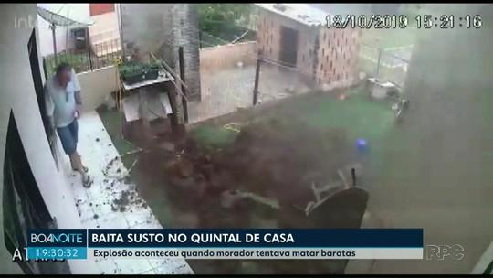 Homem causa explosão ao tentar matar baratas no quintal de casa, no Paraná
