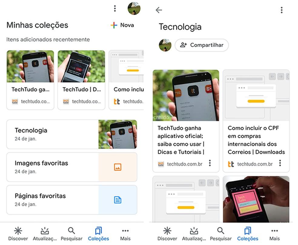 Crie coleções sobre assuntos de seu interesse com o Google App — Foto: Reprodução/Marcela Franco