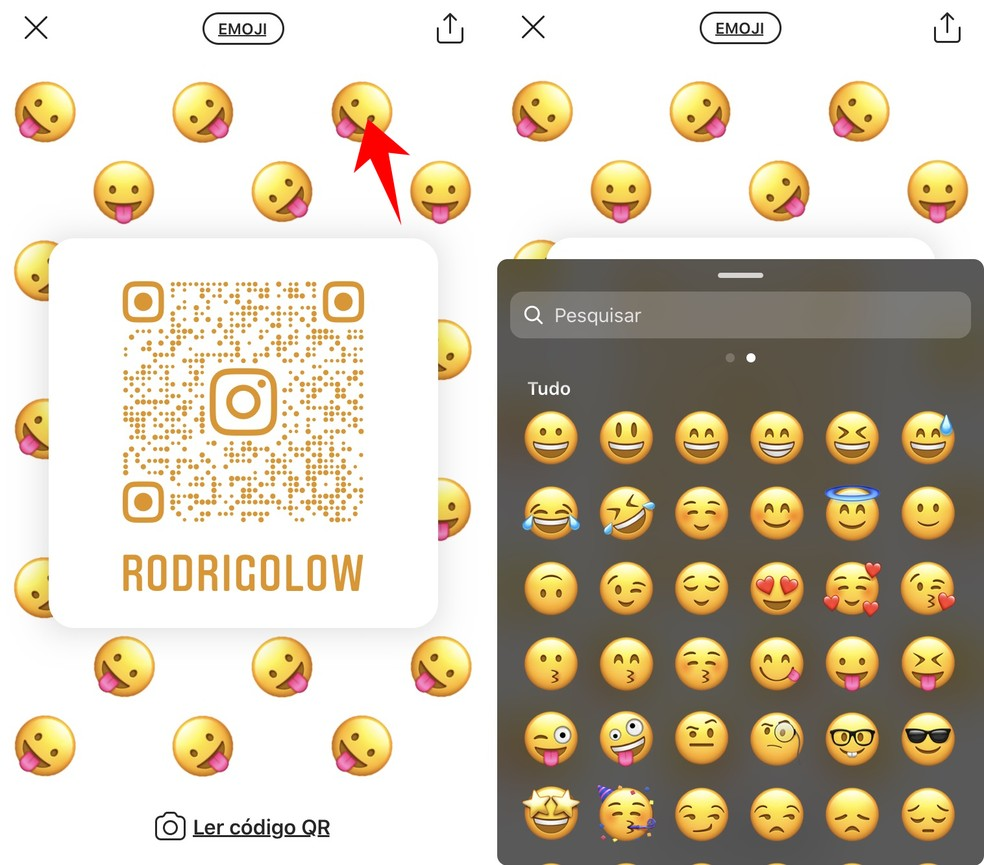 É possível usar qualquer emoji — Foto: Reprodução/Rodrigo Fernandes