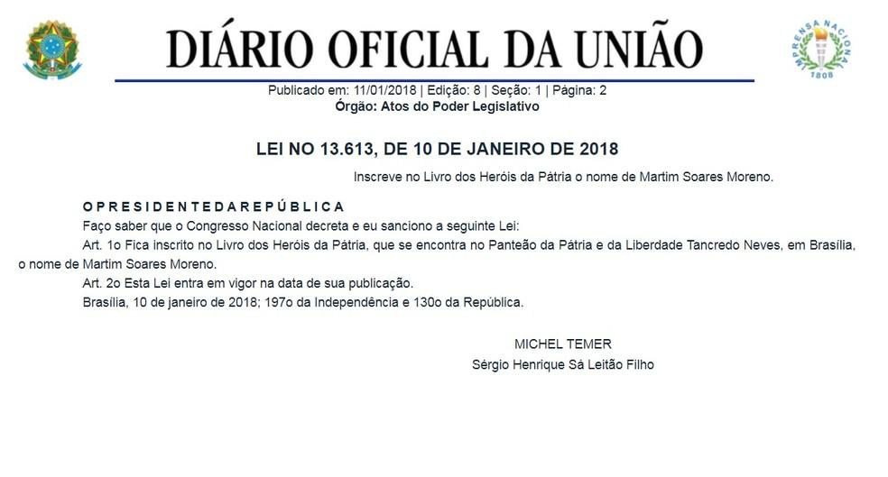 Lei incluiu o nome de Martim Soares Moreno no livro dos Heróis da Pátria (Foto: Reprodução/DOU)