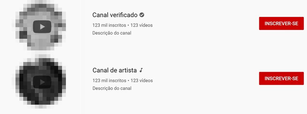 YouTube possui sinais indicativos para canais verificados e de canais oficiais de artistas. Confira se o canal traz o nome do artista e a marca de verificação — Foto: Reprodução