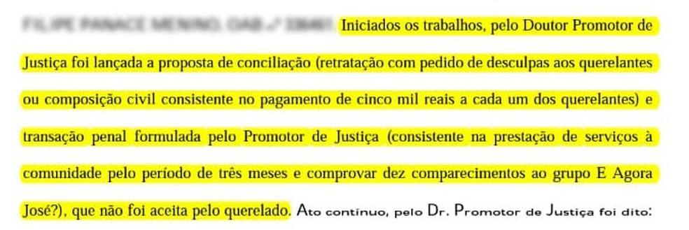 Trecho da audiência de conciliação que mostra que agressor não aceitou pedir desculpas ou pagar indenização — Foto: Arquivo pessoal