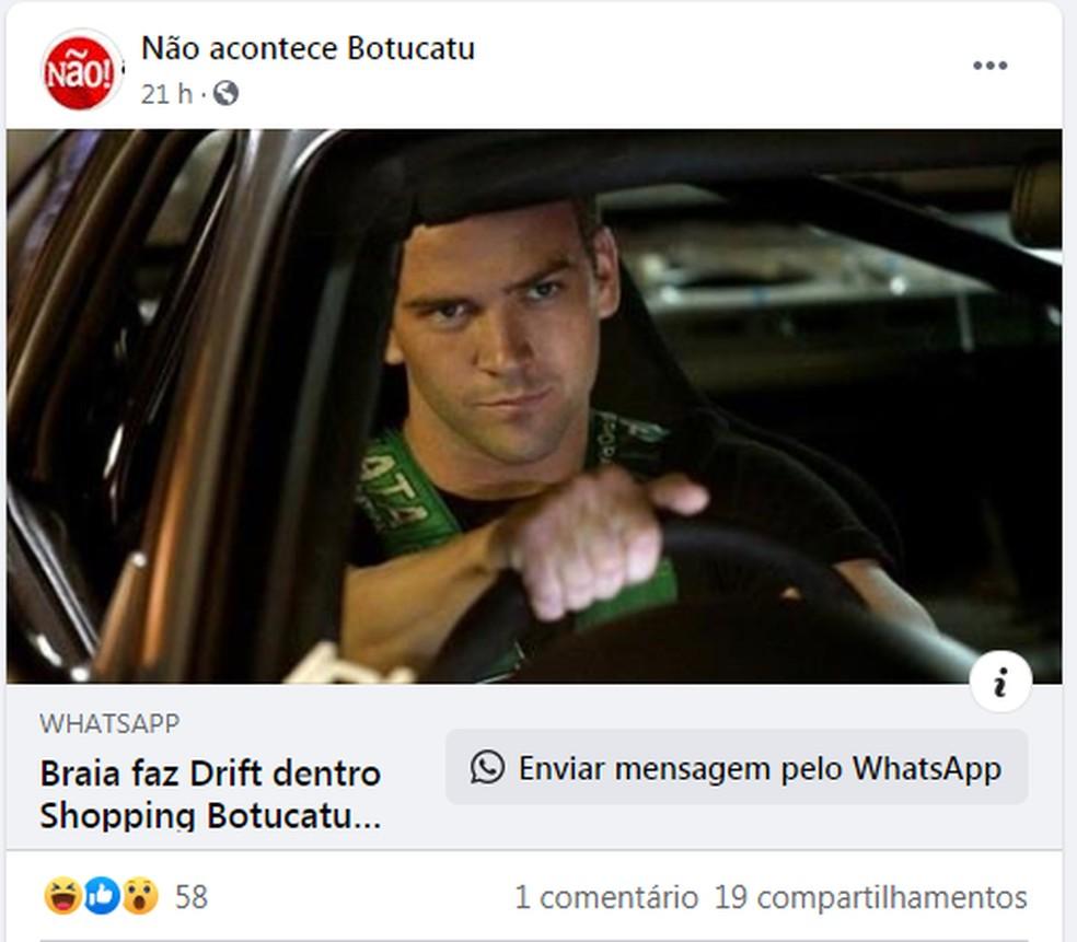 Páginas no Facebook compartilharam brincadeiras sobre o drive-thru no shopping de Botucatu — Foto: Facebook/Reprodução