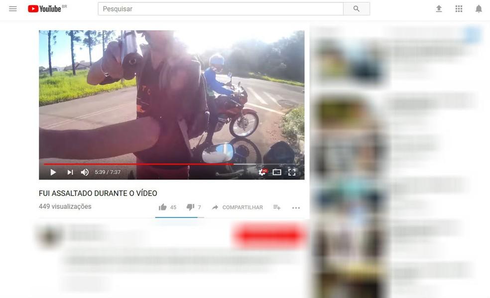 Vídeo com a simulação do assalto chegou a ser postado na internet (Foto: Reprodução/Youtube)
