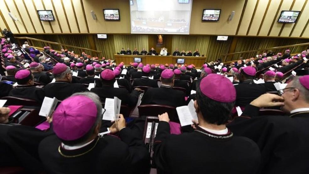 Sala do Sínodo, na qual se realizam os encontros do Papa com bispos de todo o mundo — Foto: Divulgação/Vatican Media