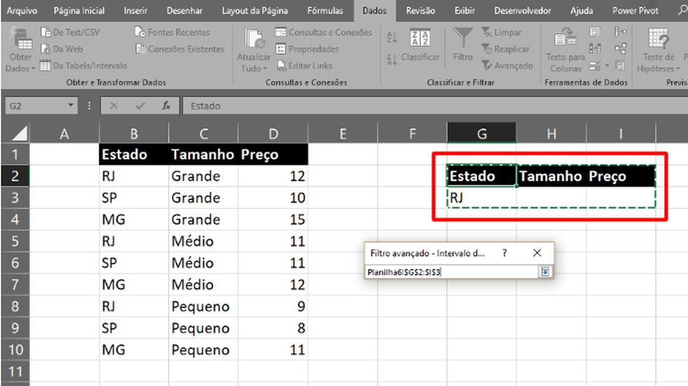 """Marque o cabeçalho e o termo de filtro como """"Intervalo de critérios"""" (Foto: Reprodução/Daniel Ribeiro)"""