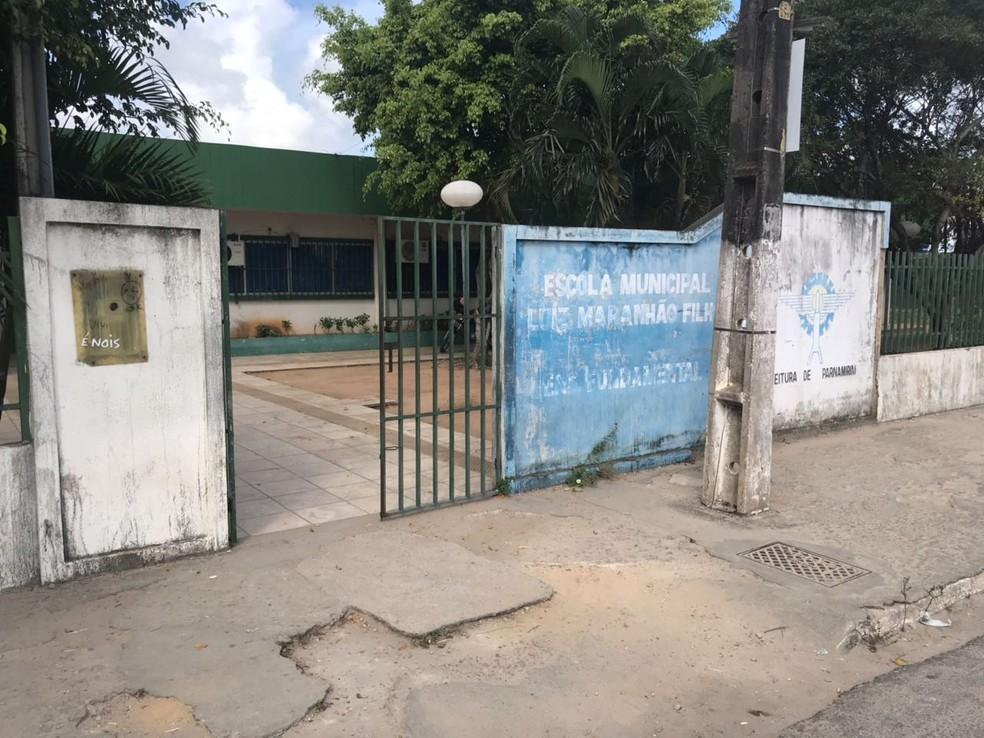 Escola Municipal Luiz Maranhão Filho foi alvo de uma arrastão nesta quinta-feira (22) (Foto: Kleber Teixeira/Inter TV Cabugi)