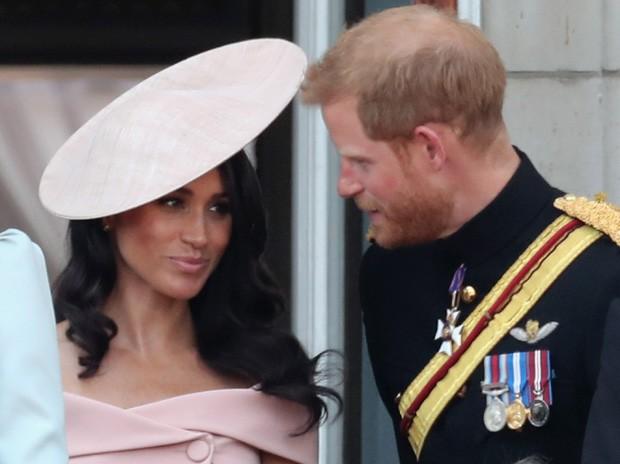 Meghan Markle e Harry no aniversário da rainha Elizabeth II (Foto: Getty Images)