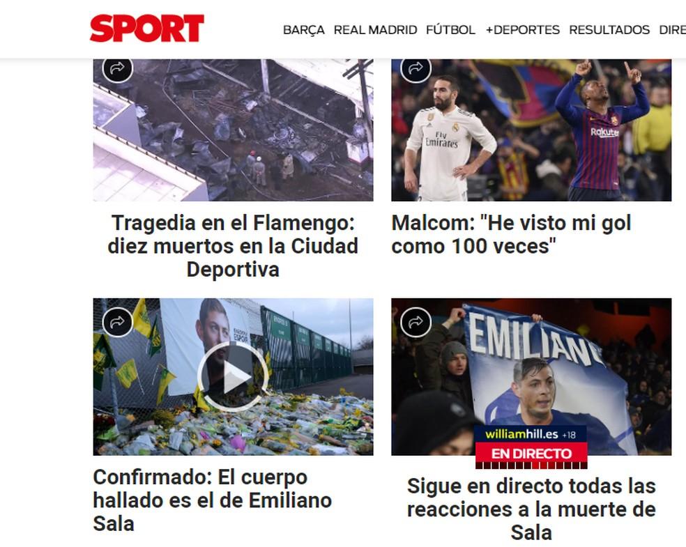 """Fogo no CT do Flamengo aparece na capa do """"Sport"""", da Espanha — Foto: Reprodução"""