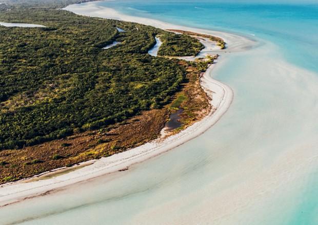 Vista aérea da costa da isla Holbox: paraíso entre o Golfo do méxico e o Caribe (Foto: Divulgação)