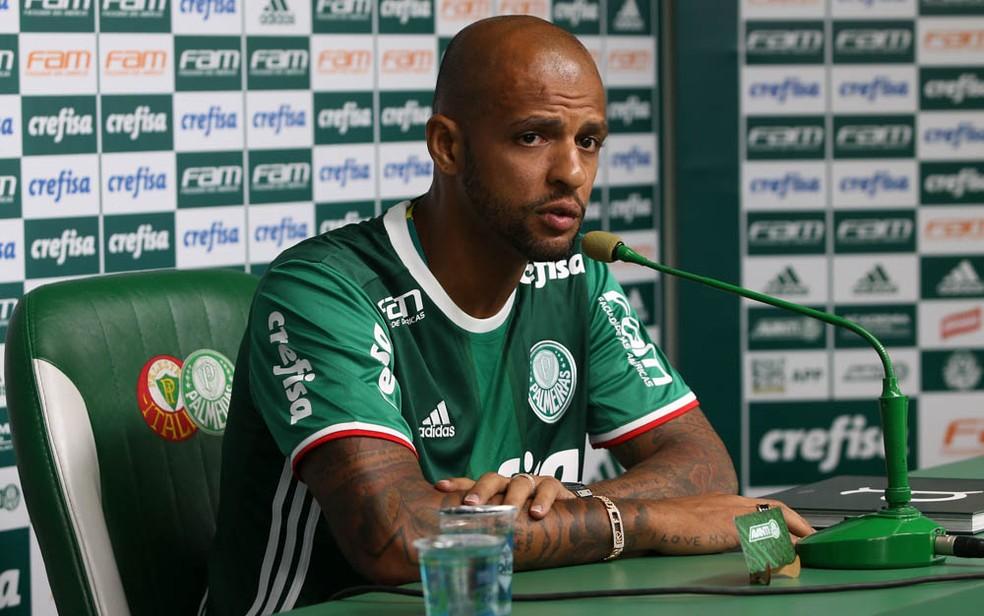 Felipe Melo em sua apresentação no Palmeiras — Foto: Cesar Greco/Ag Palmeiras/Divulgação