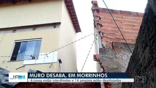 Desmoronamento deixa 14 famílias desabrigadas, em Morrinhos