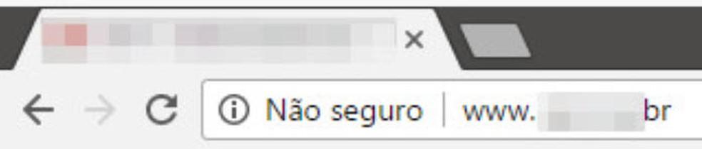 Aviso de site 'não seguro' na barra de endereços do navegador Chrome. — Foto: Reprodução