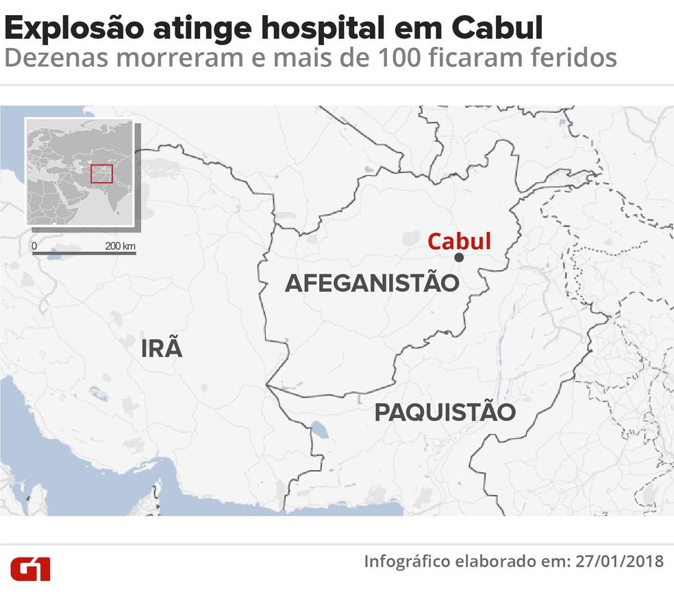 Explosão em hospital de Cabul (Foto: Karina Almeida/G1 )