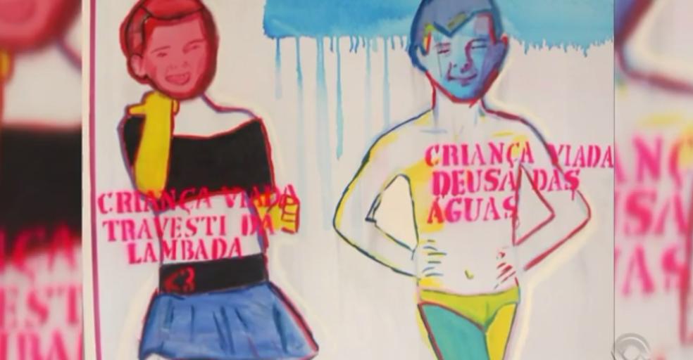 Obra da exposição 'Queermuseu', fechada pelo Santander Cultural em Porto Alegre (Foto: Reprodução/RBS TV)