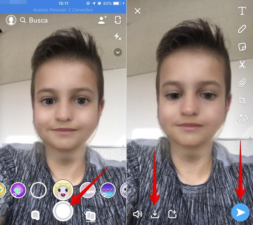 Tire uma foto e salve na galeria ou publique no Snapchat — Foto: Reprodução/Helito Beggiora