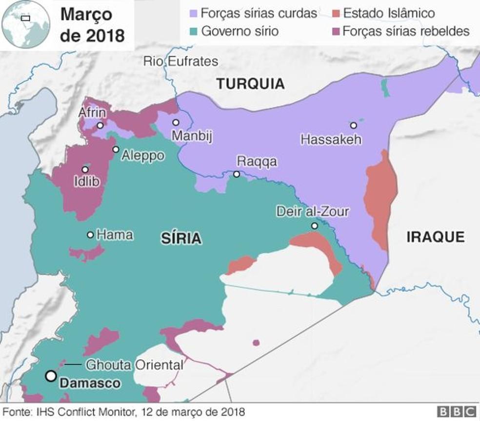 Territórios dominados na Síria (Foto: BBC)