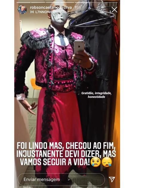 Robson Caetano reclama do resultado da semifinal da 'Superdança dos famosos' (Foto: Reprodução)