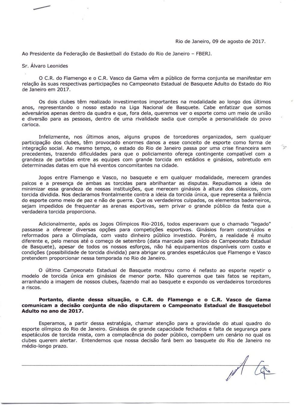 Carta Flamengo e Vasco (Foto: Divulgação)
