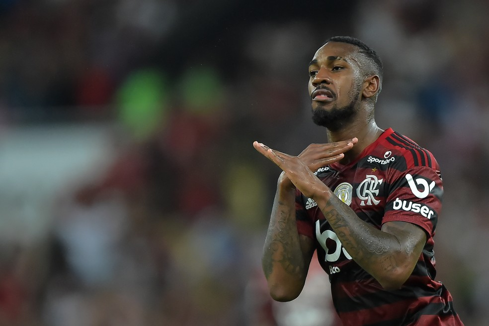 Gerson comemora gol do Flamengo: citado por Tite como um atleta que gostaria de convocar — Foto: André Durão
