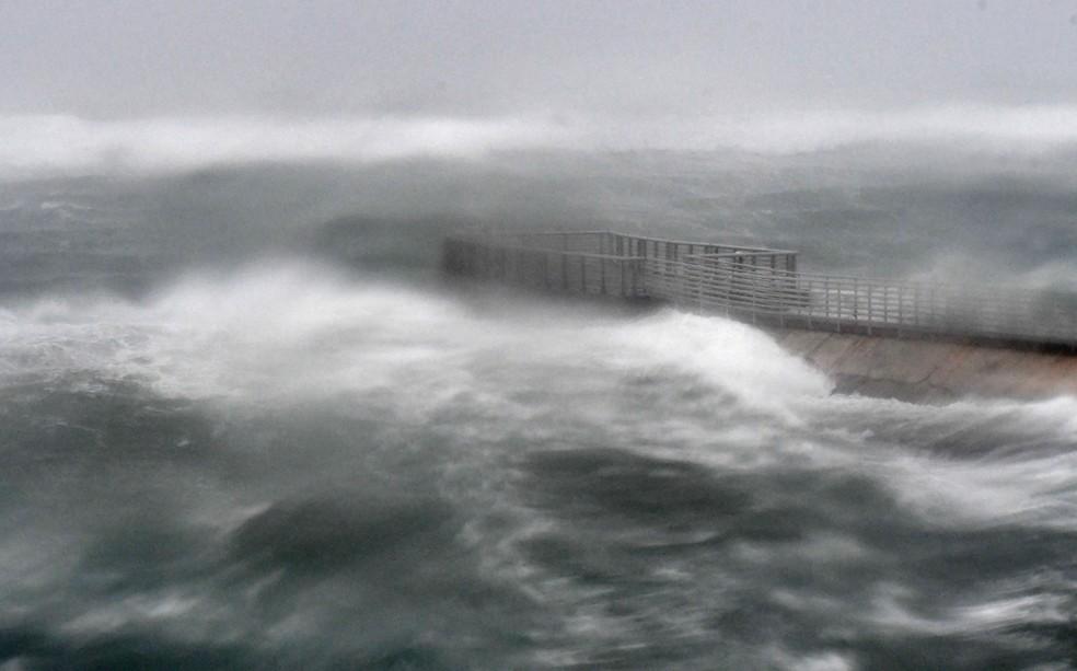 Onda atinge praia de Boynton, na Florida, durante a passagem do furacão Irma  (Foto: Jim Rassol/South Florida Sun-Sentinel via AP)