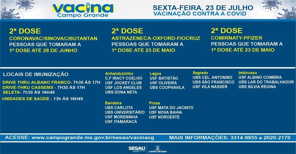 Vacinação contra Covid nesta sexta-feira (23), em Campo Grande — Foto: Sesau/Divulgação