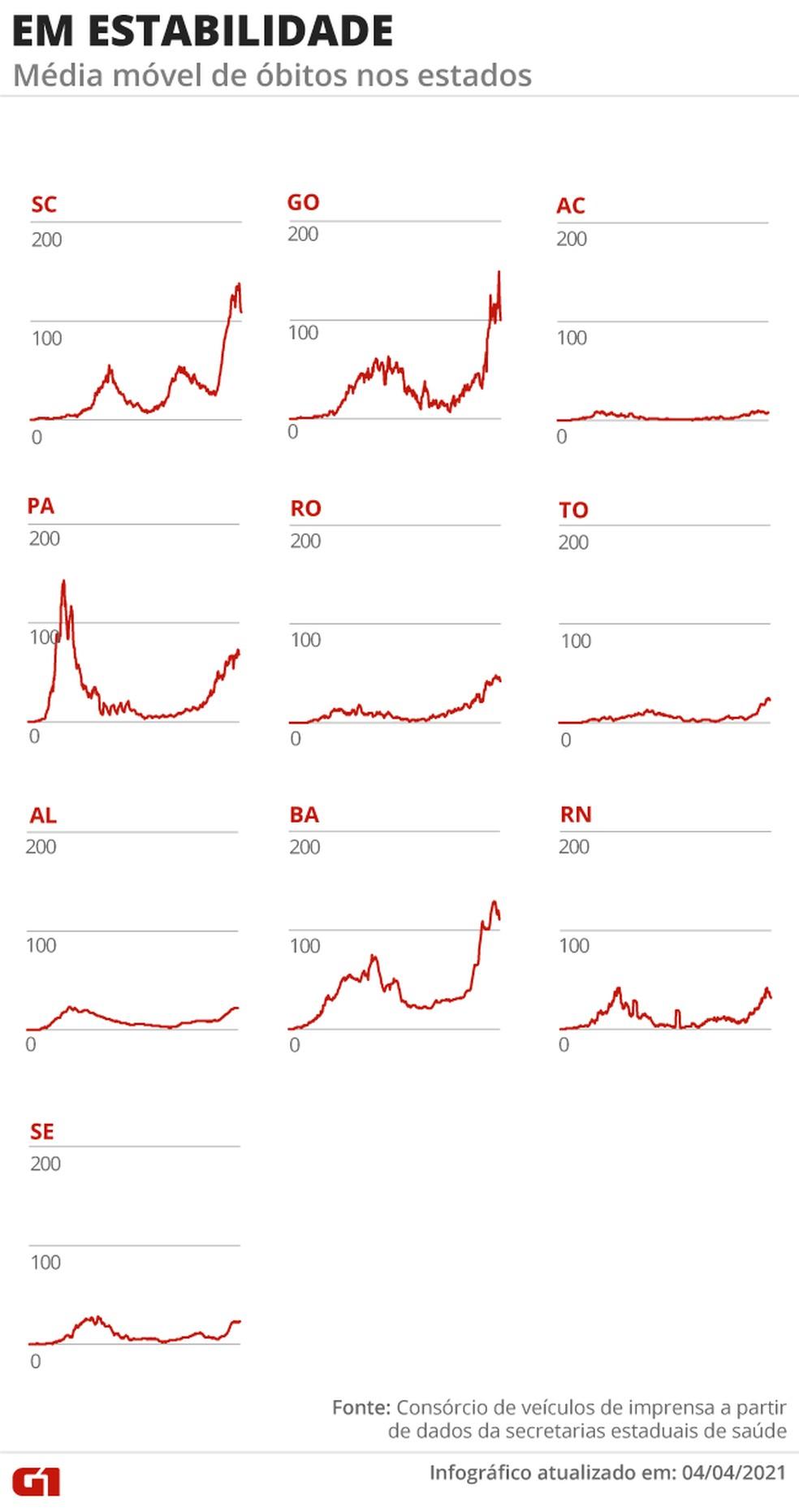 Estados com a média móvel de mortes em estabilidade — Foto: Arte G1