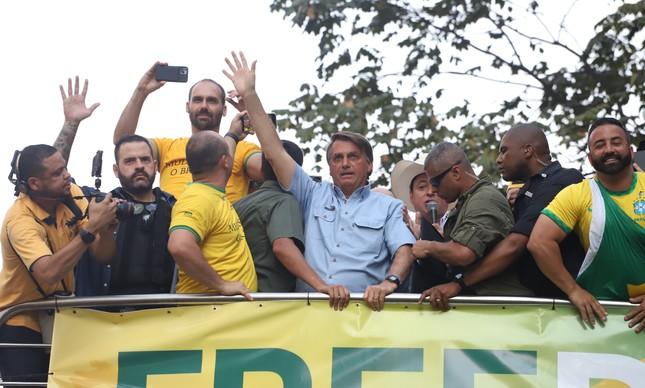 O presidente Jair Bolsonaro durante ato contra o Supremo Tribunal Federal na Avenida Paulista, em São Paulo, neste 7 de setembro