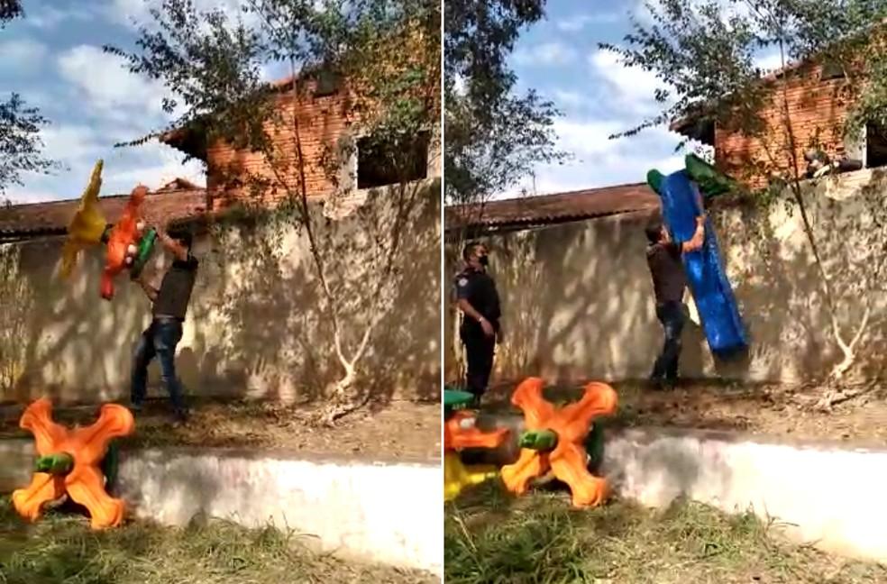Guarda Municipal devolveu os brinquedos à creche em Tatuí — Foto: Arquivo pessoal