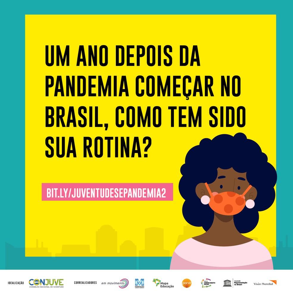Um ano depois da pandemia começar no Brasil, como tem sido sua rotina? Pesquisa on-line busca entender impacto da pandemia entre os jovens. — Foto: Divulgação