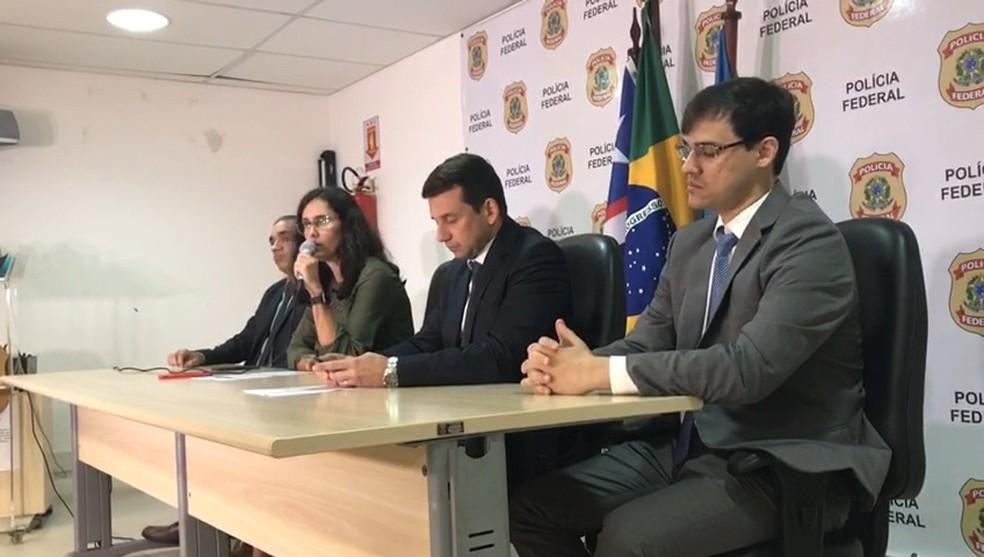 Polícia Federal concedeu entrevista coletiva e deu detalhes sobre a Operação Canafístula no Maranhão — Foto: TV Mirante
